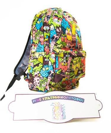 На фото изображено Рюкзак Цветные котики