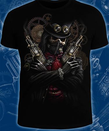 На фото изображено Футболка «Steampunk Skeleton» чёрного цвета, мужская