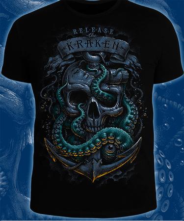 На фото изображено Футболка «Release the Kraken» чёрного цвета, мужская