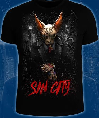 На фото изображено Футболка «SinCity» чёрного цвета