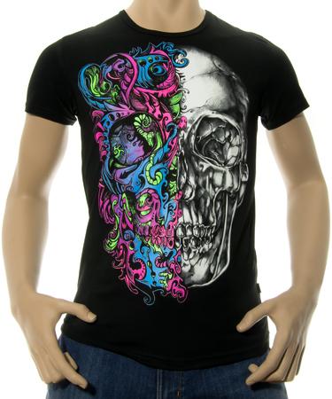 На фото изображено Мужская футболка Череп Двуликий черная