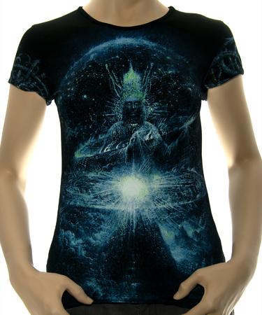 На фото изображено Женская футболка Cosmogony CyberGorgon черная