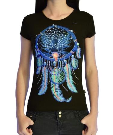 На фото изображено Женская футболка Ловец Снов черная
