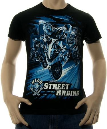 На фото изображено Мужская футболка Wild Street Racing черная