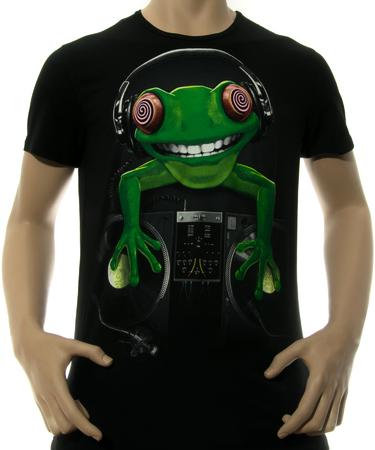 На фото изображено Мужская футболка Crazy Frog черная