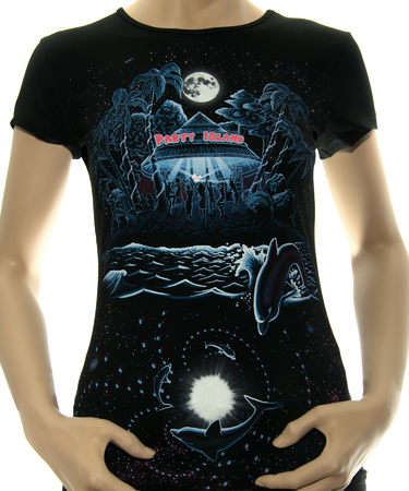 На фото изображено Женская футболка Party island черная