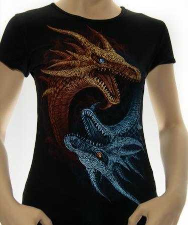 На фото изображено Женская футболка Драконы Инь и Янь черная