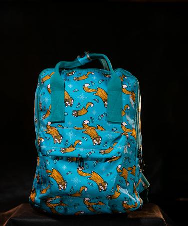 На фото изображено Рюкзак «Лисички» на голубом фоне