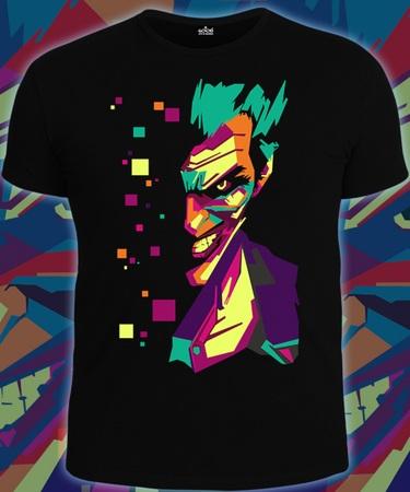 На фото изображено Мужская футболка Джокер Поп-Арт черная