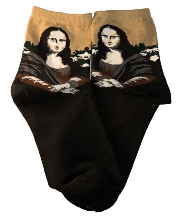 На фото изображено Носки «Мона Лиза» - Леонардо да Винчи