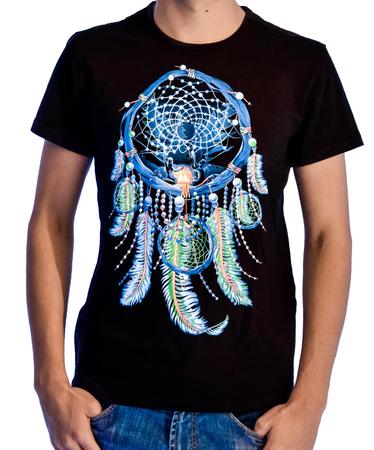 На фото изображено Мужская футболка Ловец Снов черная