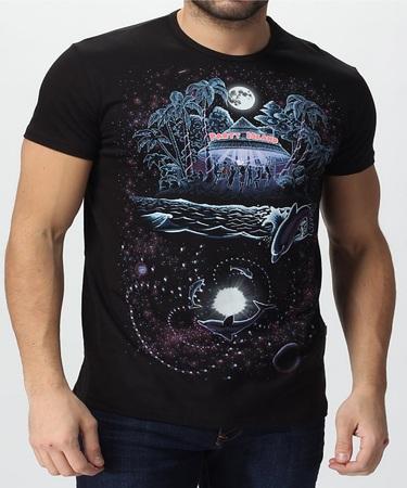 На фото изображено Мужская футболка PARTY ISLAND черная